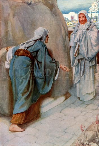 Jesus Appears to Mary Magdalene. Illustration for The Precious Gift: Bible Stories for Children by TW Wilson (Blackie, c 1910).