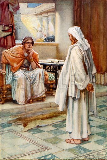 Christ before Pilate. Illustration for The Precious Gift: Bible Stories for Children by TW Wilson (Blackie, c 1910).