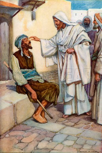 Jesus and the Blind Man. Illustration for The Precious Gift: Bible Stories for Children by TW Wilson (Blackie, c 1910).