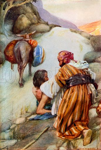 The Good Samaritan. Illustration for The Precious Gift: Bible Stories for Children by TW Wilson (Blackie, c 1910).