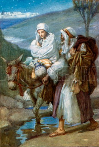 The Flight into Egypt. Illustration for The Precious Gift: Bible Stories for Children by TW Wilson (Blackie, c 1910).