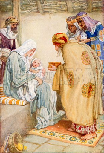 The Visit of the Wise Men. Illustration for The Precious Gift: Bible Stories for Children by TW Wilson (Blackie, c 1910).