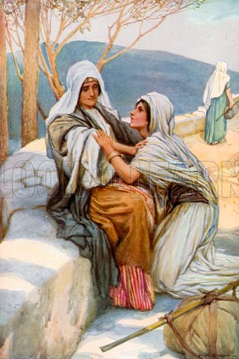 Ruth and Naomi. Illustration for The Precious Gift: Bible Stories for Children by TW Wilson (Blackie, c 1910).