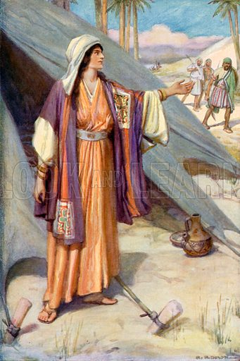 Jael Calling to Barak and his Men. Illustration for The Precious Gift: Bible Stories for Children by TW Wilson (Blackie, c 1910).