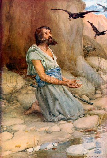 Elijah and the Ravens. Illustration for The Precious Gift: Bible Stories for Children by TW Wilson (Blackie, c 1910).