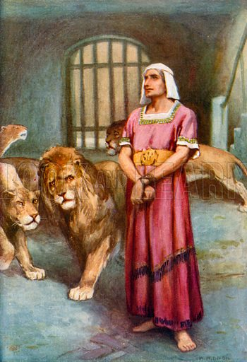 Daniel in the Lions' Den. Illustration for The Precious Gift: Bible Stories for Children by TW Wilson (Blackie, c 1910).