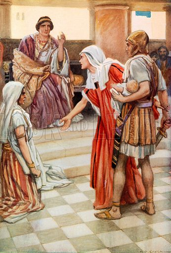 Solomon Discovers the True Mother. Illustration for The Precious Gift: Bible Stories for Children by TW Wilson (Blackie, c 1910).
