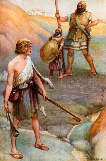David and Goliath. Illustration for The Precious Gift: Bible Stories for Children by TW Wilson (Blackie, c 1910).