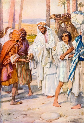 Joseph is Sold as a Slave. Illustration for The Precious Gift: Bible Stories for Children by TW Wilson (Blackie, c 1910).