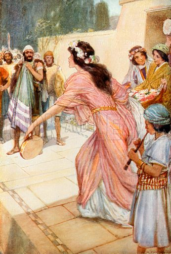 Jephthah Remembers his Promise. Illustration for The Precious Gift: Bible Stories for Children by TW Wilson (Blackie, c 1910).