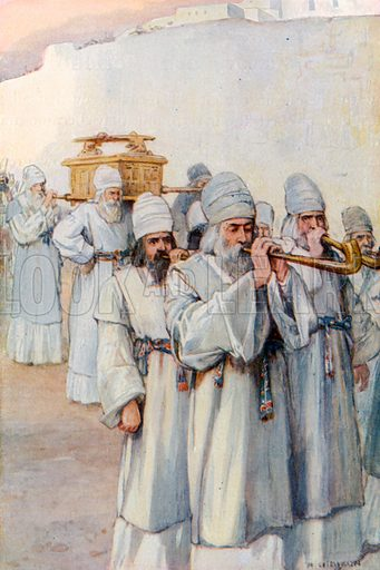 The Priests Bearing the Ark Outside the Walls of Jericho. Illustration for The Precious Gift: Bible Stories for Children by TW Wilson (Blackie, c 1910).