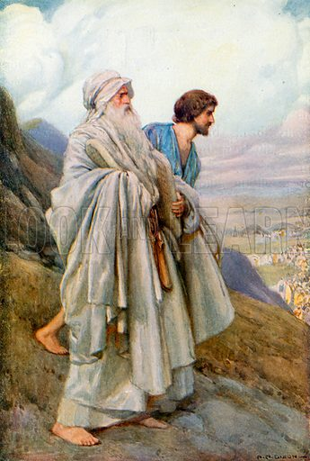 Moses and Joshua Descending from the Mount. Illustration for The Precious Gift: Bible Stories for Children by TW Wilson (Blackie, c 1910).