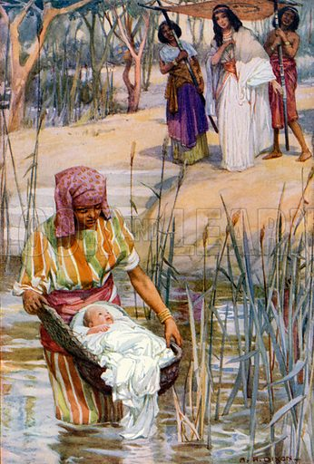 The Finding of the Infant Moses. Illustration for The Precious Gift: Bible Stories for Children by TW Wilson (Blackie, c 1910).