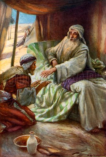 Jacob Obtains his Father's Blessing. Illustration for The Precious Gift: Bible Stories for Children by TW Wilson (Blackie, c 1910).