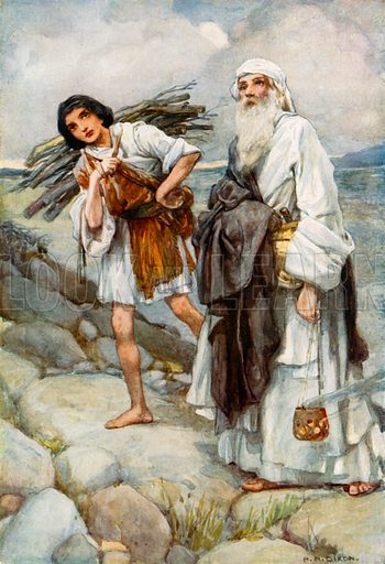 Abraham and Isaac going up the Mountain. Illustration for The Precious Gift: Bible Stories for Children by TW Wilson (Blackie, c 1910).