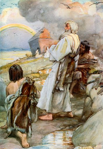 Noah and his Family come out of the Ark. Illustration for The Precious Gift: Bible Stories for Children by TW Wilson (Blackie, c 1910).