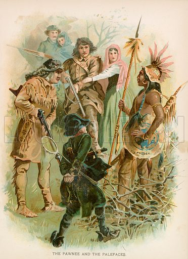 The Pawnee and the Palefaces. Illustration for Historical Stories of American Pioneers by J Fenimore Cooper (c 1900).