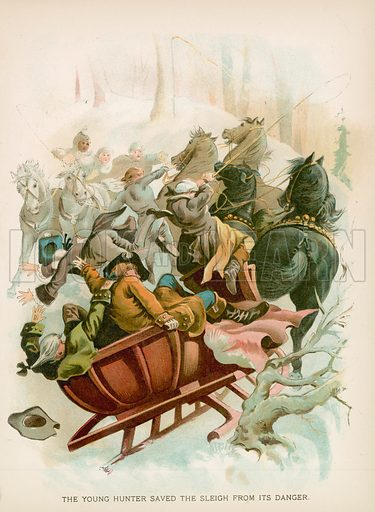 The Young Hunter Saved the Sleigh from its Danger. Illustration for Historical Stories of American Pioneers by J Fenimore Cooper (c 1900).