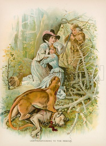 Leatherstocking to the Rescue. Illustration for Historical Stories of American Pioneers by J Fenimore Cooper (c 1900).