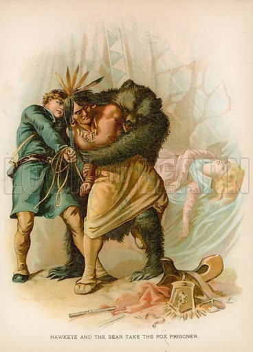 Hawkeye and the Bear take the Fox Prisoner. Illustration for Historical Stories of American Pioneers by J Fenimore Cooper (c 1900).