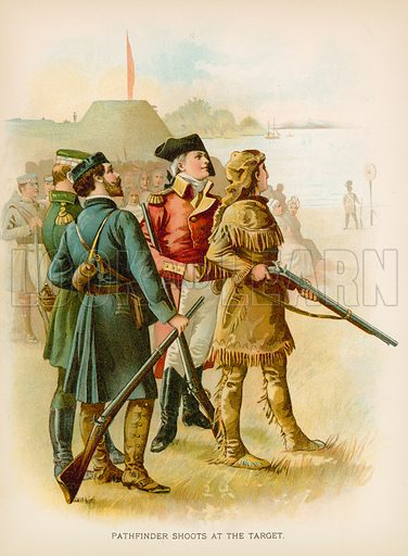 Pathfinder Shoots at the Target. Illustration for Historical Stories of American Pioneers by J Fenimore Cooper (c 1900).