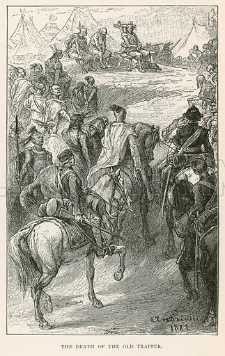 The Death of the Old Trapper. Illustration for Historical Stories of American Pioneers by J Fenimore Cooper (c 1900).