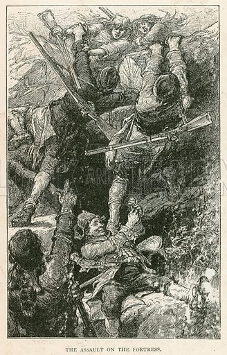 The Assault on the Fortress. Illustration for Historical Stories of American Pioneers by J Fenimore Cooper (c 1900).