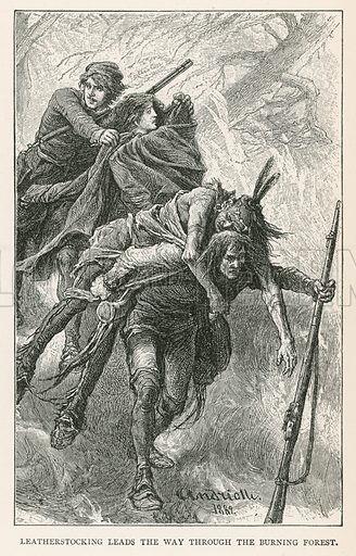 Leatherstocking Leads the Way through the Burning Forest. Illustration for Historical Stories of American Pioneers by J Fenimore Cooper (c 1900).