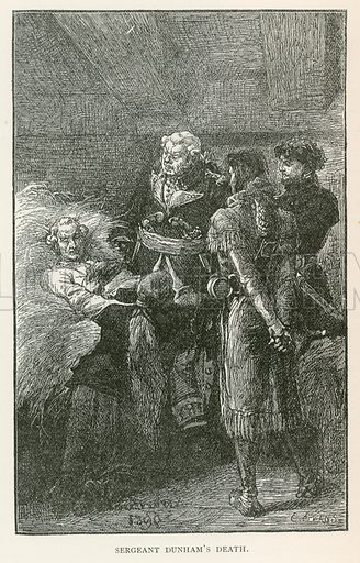 Sergeant Dunham's Death. Illustration for Historical Stories of American Pioneers by J Fenimore Cooper (c 1900).