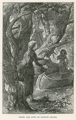 Mabel and June on Station Island. Illustration for Historical Stories of American Pioneers by J Fenimore Cooper (c 1900).