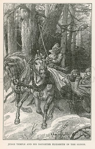 Judge Temple and his Daughter Elizabeth in the Sleigh. Illustration for Historical Stories of American Pioneers by J Fenimore Cooper (c 1900).