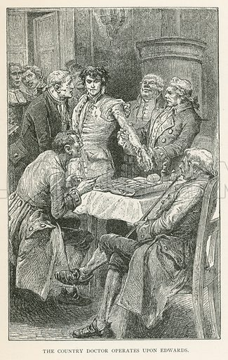 The Country Doctor Operates upon Edwards. Illustration for Historical Stories of American Pioneers by J Fenimore Cooper (c 1900).