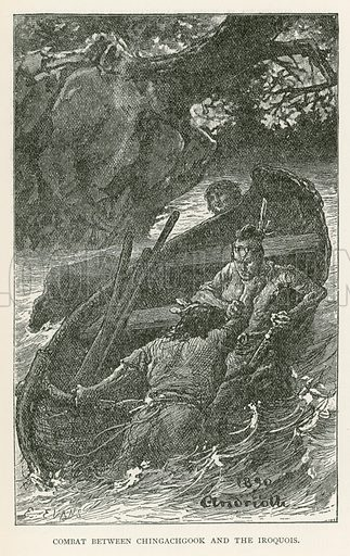 Combat between Chingachgook and the Iroquois. Illustration for Historical Stories of American Pioneers by J Fenimore Cooper (c 1900).