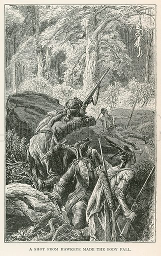 A Shot from Hawkeye made the Body Fall. Illustration for Historical Stories of American Pioneers by J Fenimore Cooper (c 1900).