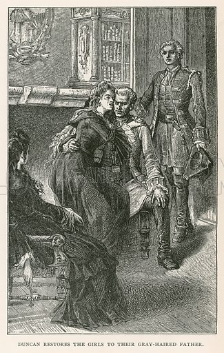 Duncan Restores the Girls to their Gray-Haired Father. Illustration for Historical Stories of American Pioneers by J Fenimore Cooper (c 1900).