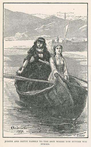 Judith and Hetty Paddle to the Spot where Tom Hutter was Buried. Illustration for Historical Stories of American Pioneers by J Fenimore Cooper (c 1900).