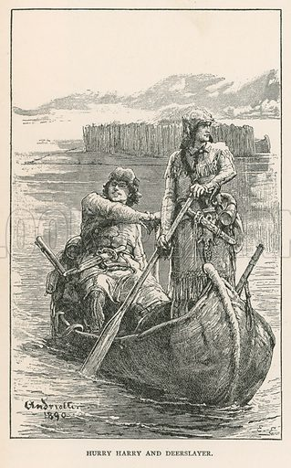 Hurry Harry and Deerslayer. Illustration for Historical Stories of American Pioneers by J Fenimore Cooper (c 1900).