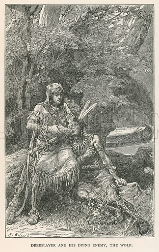 Deerslayer and his Dying Enemy, the Wolf. Illustration for Historical Stories of American Pioneers by J Fenimore Cooper (c 1900).