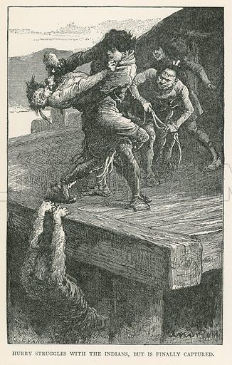 Hurry Struggles with the Indians, but is Finally Captured. Illustration for Historical Stories of American Pioneers by J Fenimore Cooper (c 1900).
