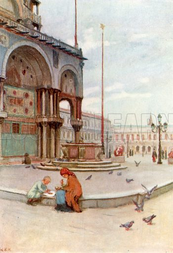 S Marco, from Piazzetta dei Leoni. Illustration for Venice and its Story by T Okey (Dent, 1910).