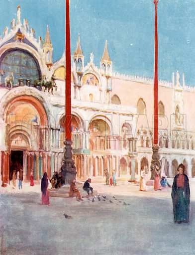 S Marco Facade. Illustration for Venice and its Story by T Okey (Dent, 1910).