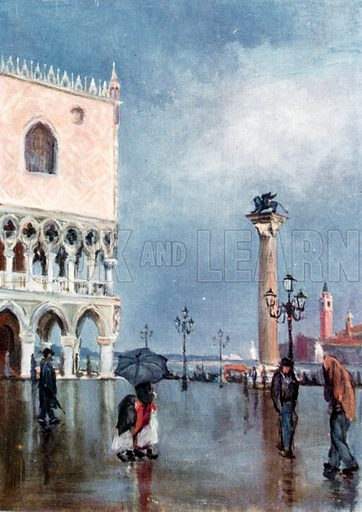 The Piazzetta and Column of S Mark. Illustration for Venice and its Story by T Okey (Dent, 1910).