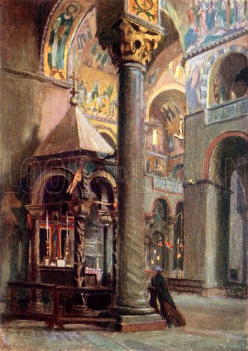 Shrine of Holy Cross, S Marco. Illustration for Venice and its Story by T Okey (Dent, 1910).