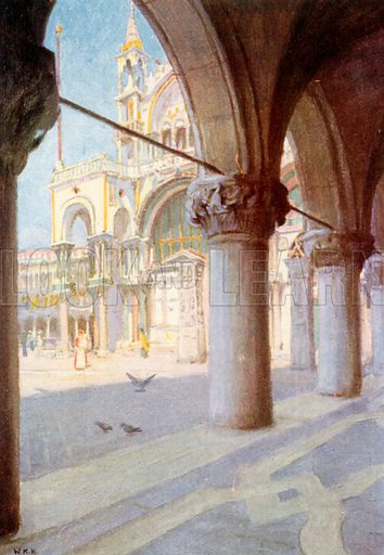 S Marco, from Colonnade of Palazzo Ducale. Illustration for Venice and its Story by T Okey (Dent, 1910).
