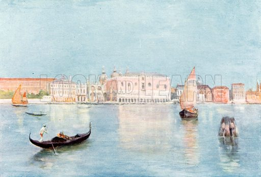 Doge's Palace from Isola S Giorgio. Illustration for Venice and its Story by T Okey (Dent, 1910).