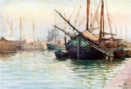 Boats at Anchor. Illustration for Venice and its Story by T Okey (Dent, 1910).