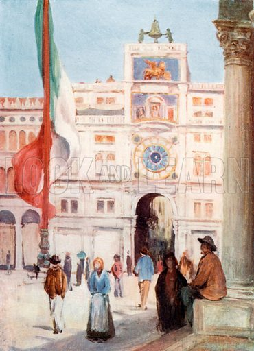 The Clock Tower and Entrance to the Merceria. Illustration for Venice and its Story by T Okey (Dent, 1910).