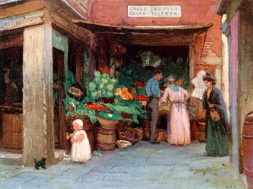 A Fruit Stall. Illustration for Venice and its Story by T Okey (Dent, 1910).