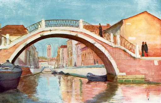 Rio and Ponte di Santa Maria Maggiore. Illustration for Venice and its Story by T Okey (Dent, 1910).