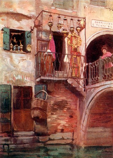 Curiosity Shop near Piazza. Illustration for Venice and its Story by T Okey (Dent, 1910).
